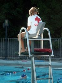 Lifeguard keeping watch